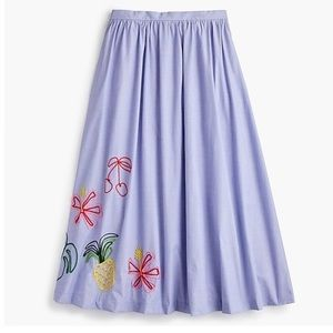 J. Crew Embroidered Tropical Skirt in Oxford